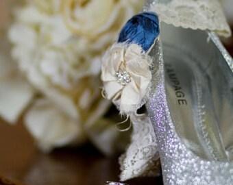 SILK Wedding Garters- Something Blue/ Wedding Garter/ Garter Set/ Bridal Garter/ Dupioni Silk/Vintage Wedding Garter