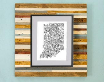 Indiana County Map - Hand Drawing