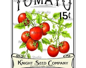 Vintage Illustration Tomato Seed Packet Digital Download Vegetable Transfer Clip Art