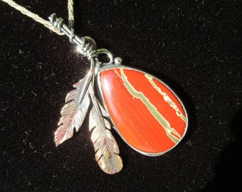 Copper Feather and Sterling Silver Brutalist Red Jasper and Agate Pendant