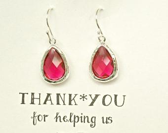 6 Ruby Red Bridesmaid Earrings, Red Earrings for Bridesmaids, Red Bridal Earrings, Red Drop Earrings, Red Wedding Earrings,  ES6