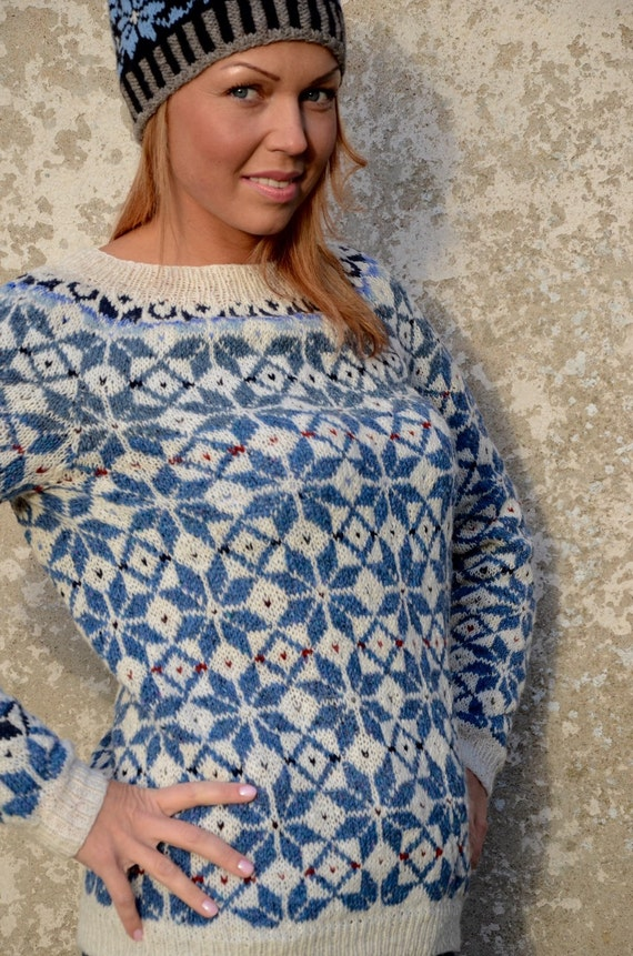 Fair Isle Sweater Blue White Sweater Comfy sweater Nordic