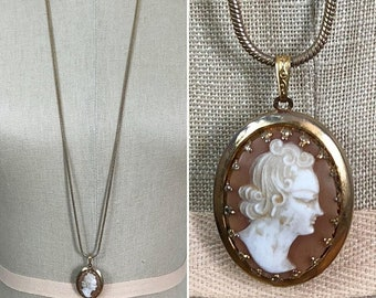 30% Off Sale 70s 80s Monet Cameo Locket with Long Snake Chain Necklace
