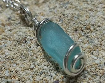 Real Teal - Aqua Beach Sea Glass Pendant in a Thick Sterling  Silver Wire Wrap Setting - Handmade