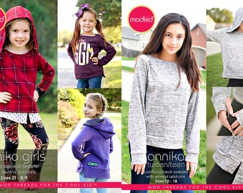 Annika Girls and Tween Teen PDF Pattern Bundle by MODKID - Instant Digital Download - Buy 2 and SAVE!