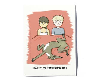 Greyhound Valentine's Day card; Greyhound Valentine card; Funny Greyhound card; funny dog valentine card; by FunnyDogStudio
