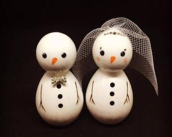 Alternative christmas / winter wedding cake topper. Mr & Mrs Snowman wood peg dolls with crystals
