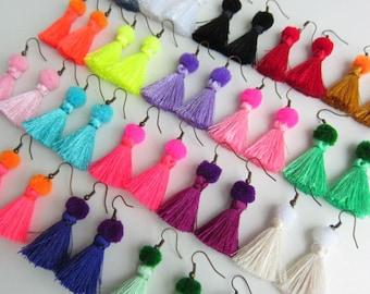 Silk Tassel Earrings, Pom Pom Earrings, Festival Earrings, Funky Silk Tassel Earrings, Neon Colorful BOHO Jewelry,Assorted Colors