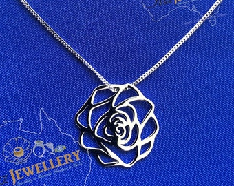 """Rose Pendant Necklace: Real Genuine Solid 925 Sterling Silver Celtic Rose Pendant Necklace with Curb Chain 16"""" or 18"""" inch"""