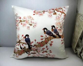Elegant velvet cushion cover/pillow cover flower bird design on both sides three sitting birds Pink Flower  pillow home decor