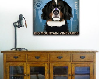 Bernese Mountain Dog Winery graphic illustration on gallery wrapped canvas by Stephen Fowler