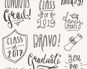 CLIP ART: Graduation Photoshop Overlays // Editable Vector eps and psd // College High School Student Class Of 2017 - // Digital Brush Stamp