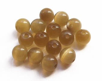 15 beads round 6 mm olive green cat's eye