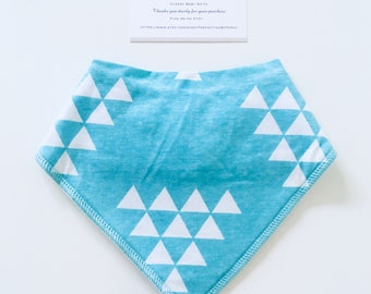 Bandana Baby Bib - Aqua with White Triangles