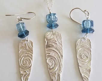 Handmade Fine .999 Silver Shield Pendant and Earrings set with London Blue Quartz beads