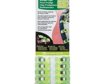 Green Wonder Clips 10 piece Clover fabric sewing craft notions