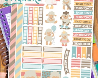 Spring Lambs Stickers Planner Printable - Cute Baby Sheep Print and Cut Stickers
