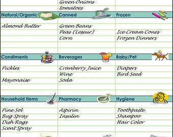 Grocery List: Pack of 25 sheets - Large, easy to read and copy