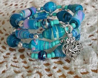 Turquoise Treasure Handmade Paper Bead Memory Wire Bracelet