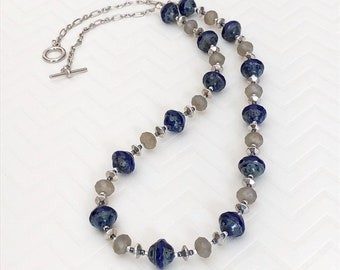 Handmade Womens Jewelry Blue Silver Necklace Czech Bead Necklace Picasso Bead Necklace Glass Bead Necklace Mothers Day Gift For Mom Gift Her