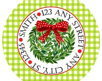 Christmas Return Address Labels,  Kissing Ball Gingham Round Labels Stickers for Christmas Cards, Address Labels, Preppy Labels