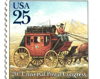5 Wild West Stagecoach Postage Stamps // Mail Wagon Postage Stamps // Vintage Western Stagecoach Postage for Mailing