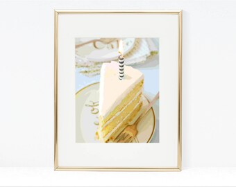 Piece of Cake Digital Art - Instant Download, Birthday Cake, Cake Printable, Cake Photography, Slice of Cake, Bakery Art, Kitchen Wall Decor