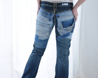 Apcycled Reworked Vintage Patched  Jeans redone vintage jeans /boyfriend jeans,diesel one of a kind patch
