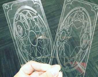 Clear Card CardCaptor Sakura Clow Card Outline Etched Style - 2D Acrylic Props