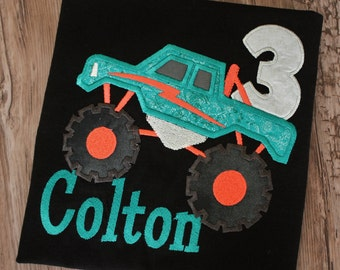 Monster truck birthday shirt, monster truck shirt, boys monster truck birthday shirt, boys monster truck shirt with name and birthday number