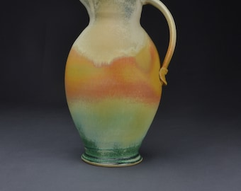 Handmade Pottery Pitcher, Ceramic Pitcher, Stoneware Pitcher, Tan Orange Green Pitcher 3