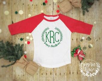 Toddler Girl's Merry Christmas Monogram Wreath Baseball Shirt