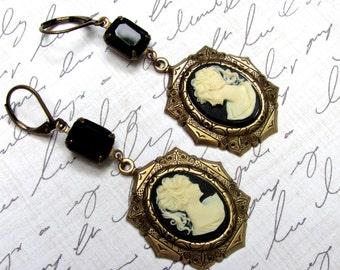 Cameo Earrings, Black Cameo Earrings, Dangle Earrings, Edwardian Earrings, Swarovski Crystals, Downton Abbey, Great Gatsby, Black Earrings