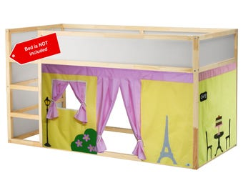 Paris Theme Bed Tent / Loft bed curtain - free design and colors customization