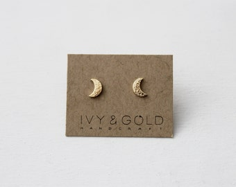 Crescent Moon Earrings in 14k yellow gold. Fine Jewelry. Celestial. Phases of the Moon. Waxing Moon. Waning Moon. New Moon. Gold Moon.