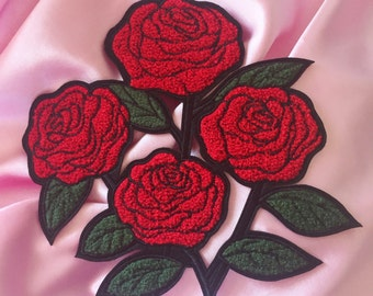 """Large Roses Chenille 7.5"""" Iron On Patch"""