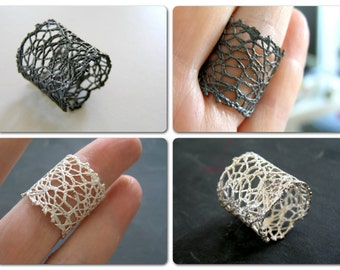 lace sterling silver adjustable  band ring - made to order