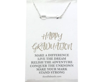 Graduation gift for her, Gold or silver Arrow necklace with Happy Graduation card, Graduate gift, gift for the graduate, graduation necklace