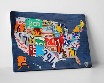 "License Plate Art USA Map Gallery Wrapped Canvas Print. 20""x16"", 30""x20"", 45""x30"""