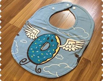 Flying Donut Baby Bib, Cute Recycled T-Shirt Baby Bib, Baby Shower Gift, New Baby Gift