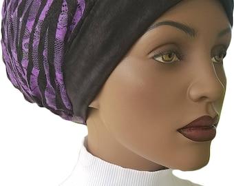 Purple Black Huggee Locks™ Beanie  Distressed Jersey Knit Animal Print Lined Beanie Cap Hat Tam Slouchy Hat Rasta Rastafari Dreadie Handmade