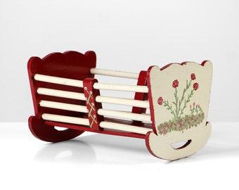 Vintage doll bed, wooden doll bed, antique doll bed, red white doll bed, doll cradle, doll crib