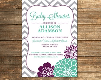 Baby Shower Invitation, Girl, Purple and Mint, Mint Green, Chevron Baby Shower, Gray Chevron, Digital, Invite, PRINTABLE INVITATION