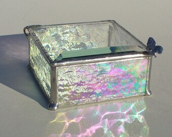 Iridescent, Stained Glass Box, Beveled Glass Box, Glass Jewelry boxes, Handle of Your Choice