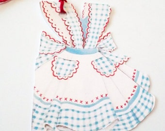 Blue Gingham Apron - Gift Tags - Set Of 3 - Retro Apron Tags - Mid Century - Vintage Aprons - Retro Kitchen - Mother's Day - Thank Yous