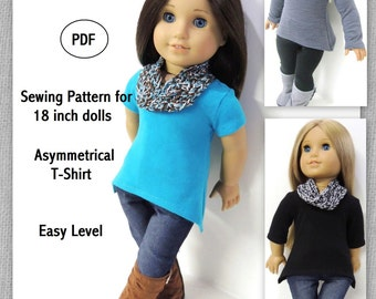 Asymmetrical T-Shirt - Doll Clothes Pattern for 18 inch Doll