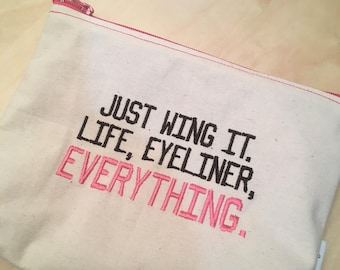 Embroidered Zipper Pouch-Wing it (EZip 29)