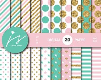 Pink and Turquoise gold glitter digital paper, Patterns, Backgrounds, Turquoise and Pink glitter gold digital scrapbooking, MI-774