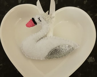Glittery Felt Swan hanging decoration