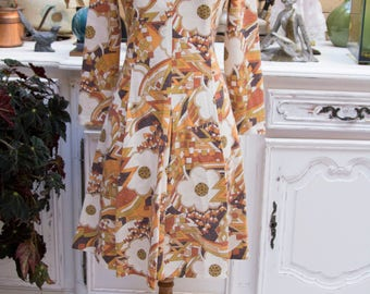 Vintage 1960's Short Pleated Dress with Flowers by Pleias